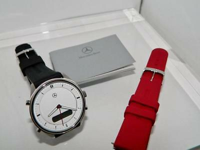 Men's Mercedes Benz CLK Edition Duo Display Stainless Steel Watch,Silicon Strap