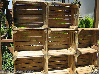 6  Wooden Apple Crates Storage Box  Crates Boxes Shabby
