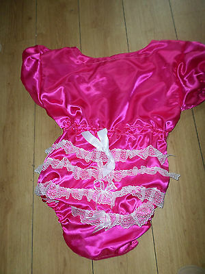 "ADULT BABY SISSY DEEP PINK  SATIN romper suit 46"" CHEST SLEEPSUIT LACE BACK"