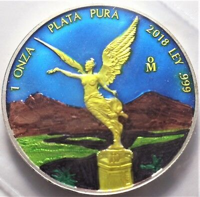 2016 1 oz Mexican Gold Glided Colorized Silver Libertad Coin (BU)