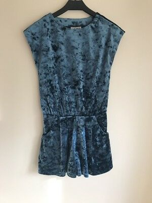 Girls Blue Velvet Playsuit Christmas Party Age 6 Next