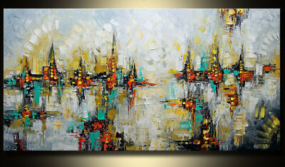 """24×48""""Abstract Cityscape HUGE WALL ART OIL PAINTING ON CANVAS(no frame)"""