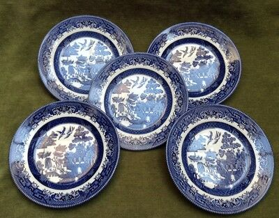Vintage Willow Plates Blue White Pattern Side Plate Set 5 Churchill England Dish