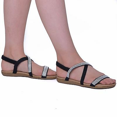 7420f03e1514 Ladies Flat Open Toe Womens Diamante Jewel Holiday Dressy Party Sandals  Size 3-8