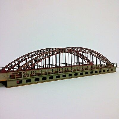 New Modelux red oxide N gauge small arch double road suspension modular bridge