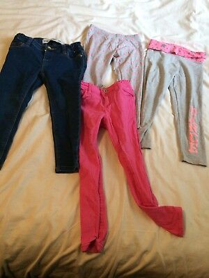 Bundle Of 4 Girl's Jeans & Leggings - 4 - 5 Years  - Pink Grey Blue