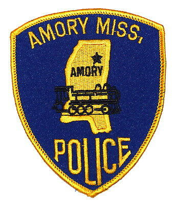 AMORY MISSISSIPPI MS Sheriff Police Patch STATE SHAPE OUTLINE RR TRAIN ENGINE ~