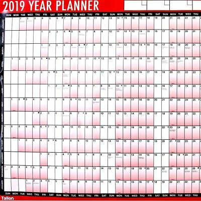 2019 A1 Large Year Wall Planner For Home/Office School Work Unmounted Calendar