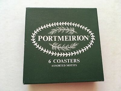 Portmeirion  Coasters. Set of 6 Botanical designs 4 inch sq. hard wearing finish