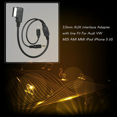Car AMI MDI MMI MP3 3.5 mm AUX Cable Adapter Interface For iPhone Audi VW E2Y2