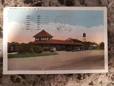 Vintage Railroad Postcard Sea Girt N.J.