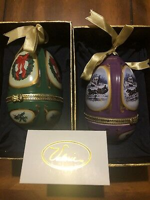 Set of 2 Christmas Porcelain Musical Christmas Eggs Ornament By Valerie