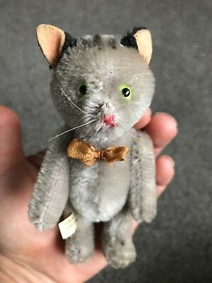 Very Rare Antique Miniature Mohair Schuco Tricky Yes No GRAY CAT W/Tag Excellent