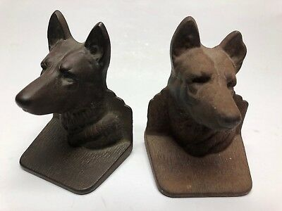 Pair Antique Vintage  Bronze Bookends German Shepherd Small