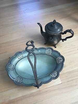 1900'S Walker & Hall Sheffield England Silver plate Basket & Newport EP pitcher