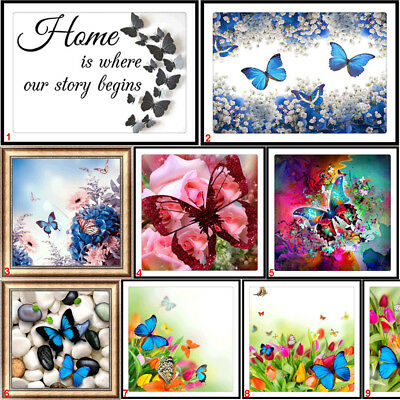 Butterfly DIY 5D Diamond Painting Embroidery Flower Cross Stitch Kits Home Decor