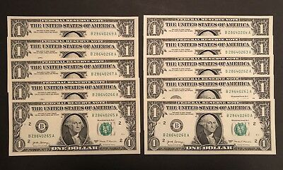 2017 $1- One Dollar Note/bill- Lot  Of 10 Consecutive- New York (B)- Brand New!
