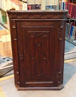 Antique Georgian Oak Hand Carved Wall Mounted Corner Unit/cabinet