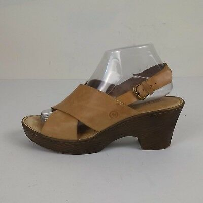 0c55f68e49a6 Born Coralyn Casual Leather Sandals Womens Size 9M Tan Nut Wedge Heel  Slingback