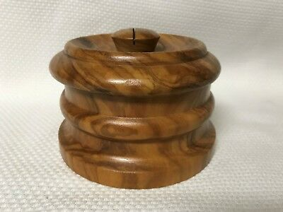 Vintage Round Wooden Box with Amber Glass Insert Beautiful Wood
