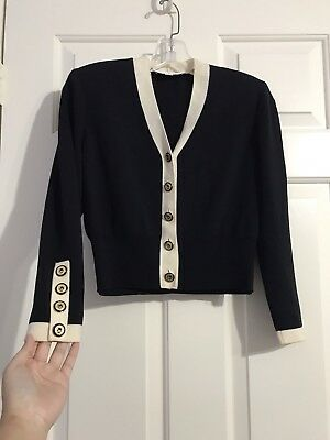 St. John Collection By Marie Gray Size 0 P Gold Buttons Black Cream *READ
