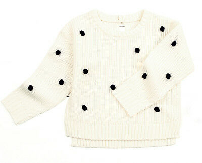 New Baby 12 month Ivory White Knit Pullover Sweater with Pom Poms