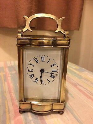 Antique French Serpentine Cased Brass Carriage Clock Recently Serviced Working