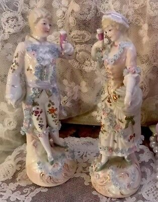 Antique DRESDEN Unmarked Porcelain Set Of 2 Man & Woman FIGURINES