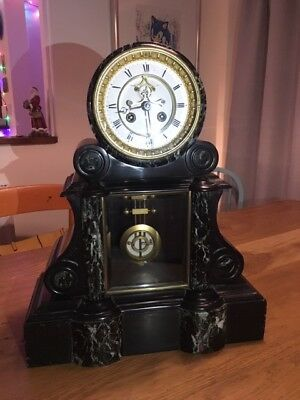 French Drum head slate/marble large mantle antique clocks c1860, mint condition.