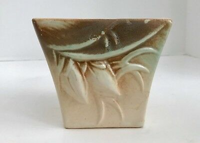 "Vintage McCoy Pottery Pastel Cream, Brown and Green 4"" Embossed Lily Bud Planter"