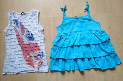 Girls summer bundle white ruffle vest top & turquoise strappy top 6-7 years