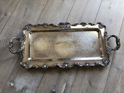Large Heavely Silver Plated Silver Tray  With  Feet .