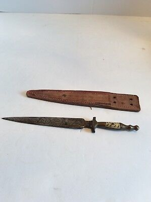 Vintage Etched Dagger Juarez Mexico Fixed Blade Knife Bone Handle With Sheath