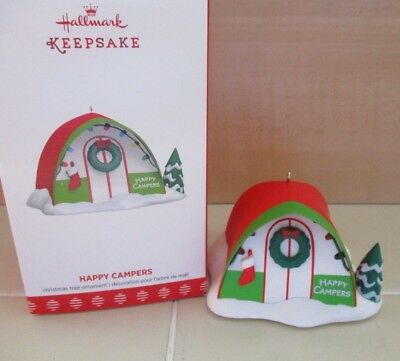 NEW Hallmark Christmas Ornament 2017 Happy Campers Pop Up Tent Tree Wreath