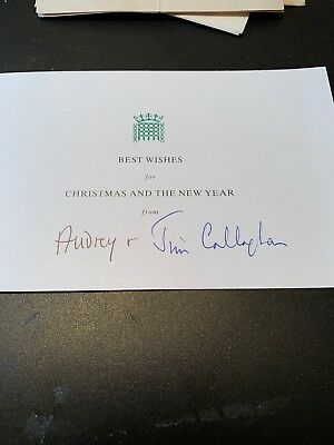Jim & Audrey Callaghan - Late Labour Prime Minister - Rare Signed Christmas Card