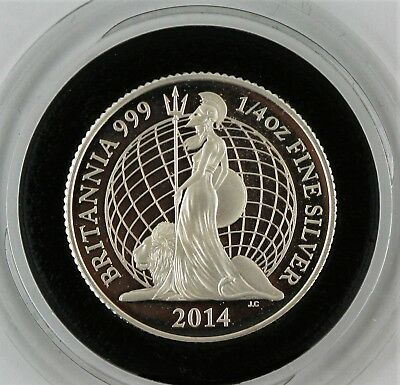2014 Royal Mint Britannia Silver Proof Fifty Pence 50p coin, screw capsule