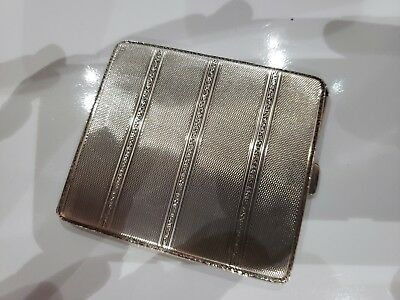VINTAGE STERLING SILVER / ANTIQUE CIGARETTE / CARD CASE / 3 x 3 1/4