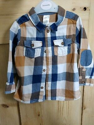 H&M Baby Boys Chequed Blue Brown & White Shirt Size 9-12 Months