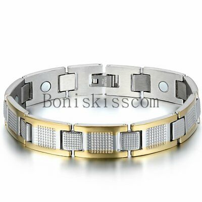 Silver Gold Two Tone Stainless Steel Link Men's Golf Therapy Magnetic Bracelet