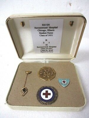 4 nursing pins 14K Gold Ravenswood Hospital Chicago IL Class of 1931 Red Cross