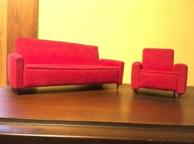 Vintage Miniature Mid Century Modern Upholstered Furniture Red Couch and Chair