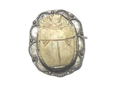 RARE Antique Victorian Egyptian SILVER BROOCH Ancient Egypt Style Scarab Beetle