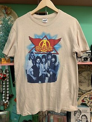 Rare Vintage Concert Tour T-Shirt Aerosmith 1980s Rock In a Hard Place XL