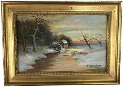 Antique 19thC GUSTAV MINKER Oil on Board Victorian Scene Landscape Art Painting