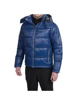 Marmot Stockholm 700 Down Jacket Winter Hood Mens Medium Blue Saphire  275 eeef807249f0