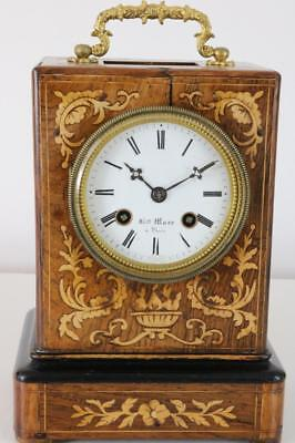 RARE ANTIQUE OFFICER'S CAMPAIGN CLOCK by HENRY MARC rosewood case with inlay