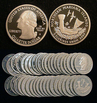 Roll of 40 2009-S Proof Northern Mariana Islands 90% Silver Quarters