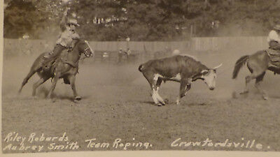 Crawfordsville IN  FAMOUS RODEO RIDER AUBREY SMITH  TOWN VIEW  Rppc Postcard