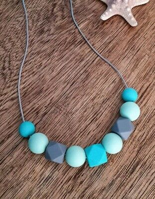 Silicone Sensory (was Teething) Necklace Turquoise Grey Mint Beads Gift For Mum