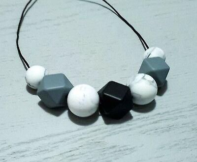 Silicone Sensory Necklace (was Teething) Black Marble Grey Beads Gift For Mum
